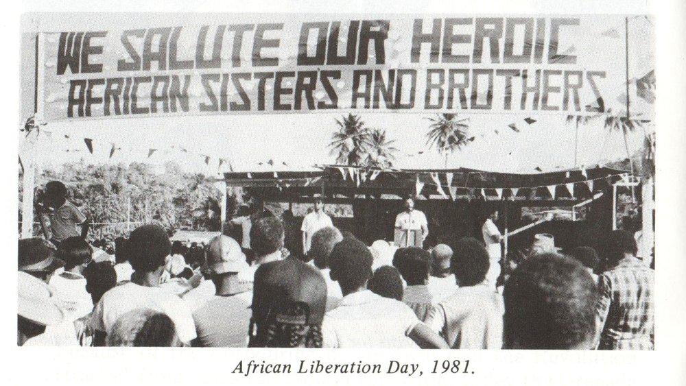 Maurice Bishop addresses an African Liberation Day crowd in Grenada, 1981. Image courtesy Caribbean Labour Solidarity/University of the West Indies Grenada/Fedon Press