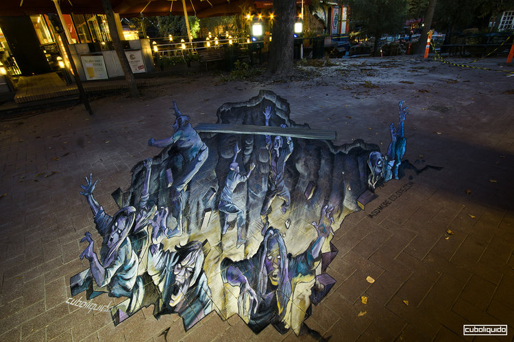 3d street painting and anamorphic art by chalk artist cuboliquido