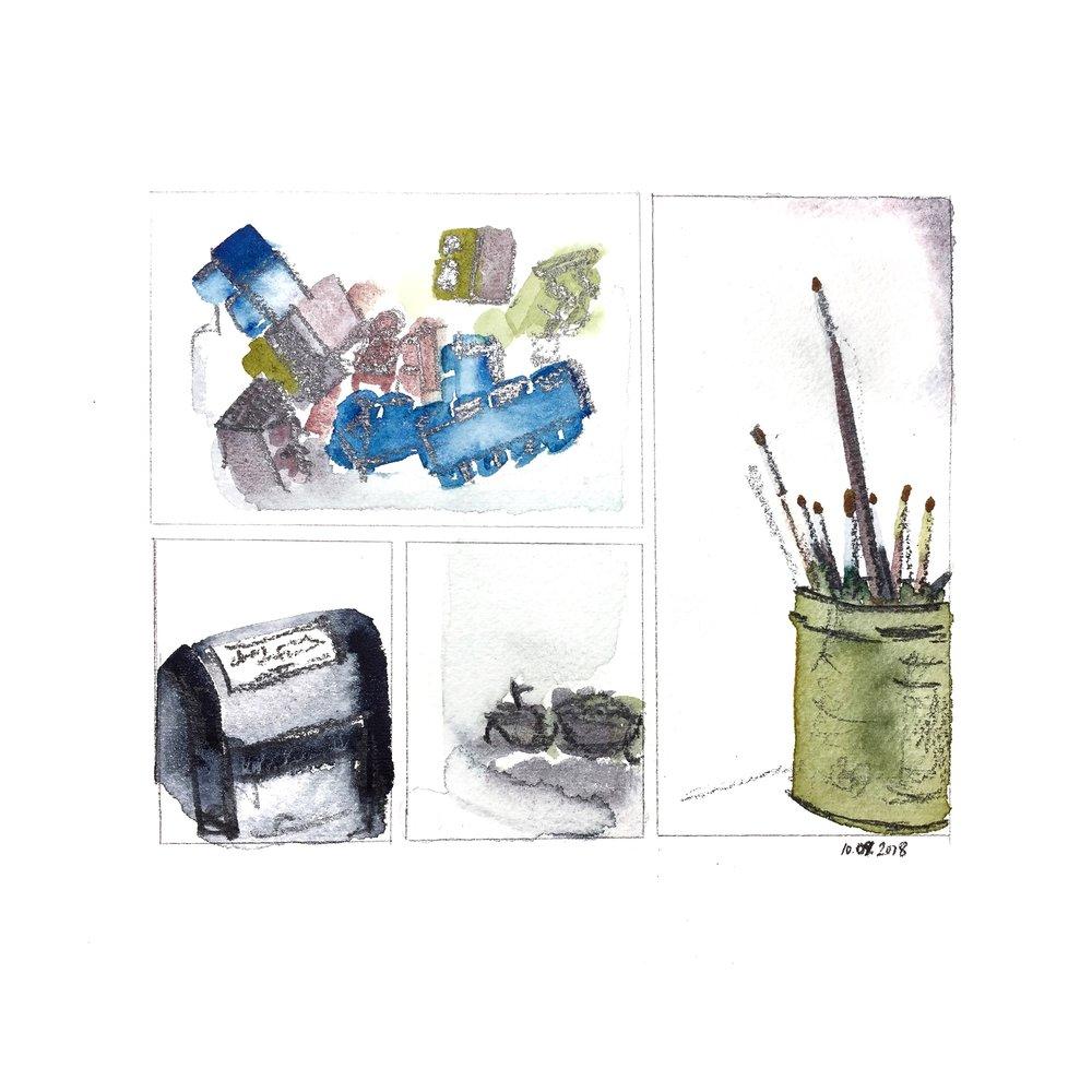 megablocks, physician's stamp, a dead beetle, paintbrushes