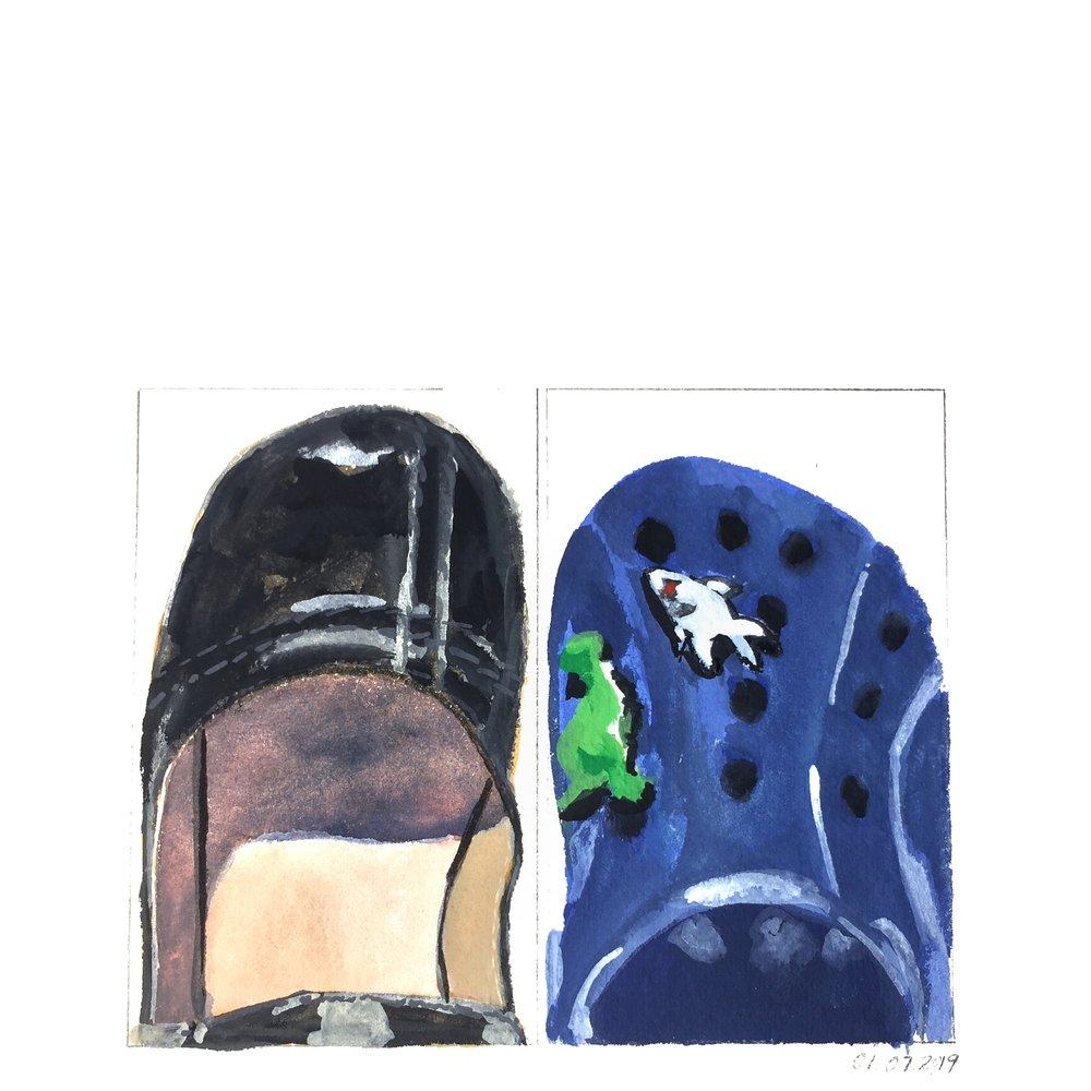 left school shoe of the little girl, right school shoe of the little boy