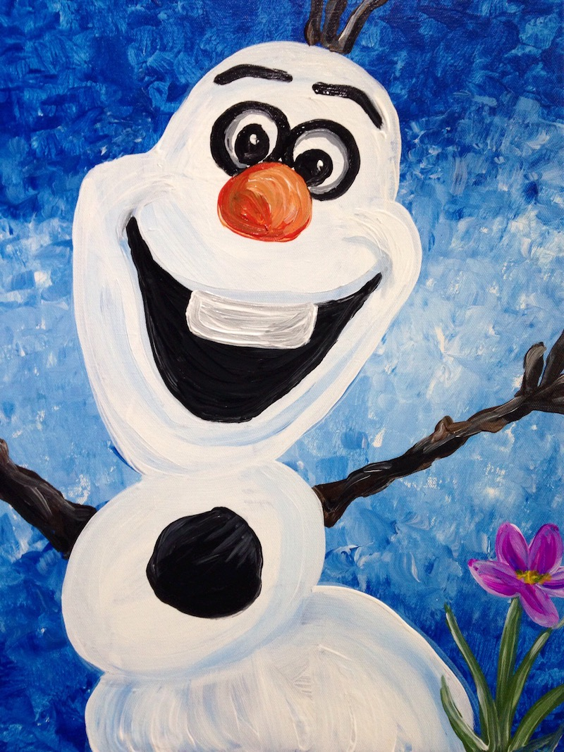 Families will try this favorite snowman painting.