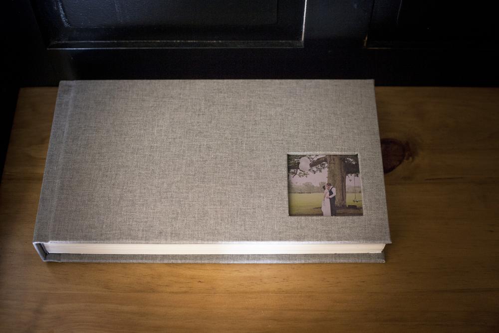 beautiful 18x10 stone linen wedding album.