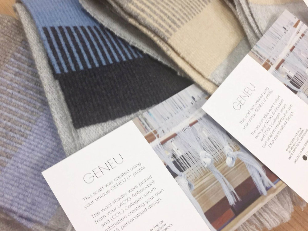 DNA Personalised Skincare brand  GENEU  commissioned Dot One to create a range of scarves designed using the genetic markers specific to their skincare products for Christmas gifting.