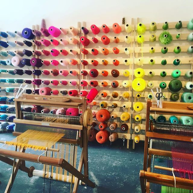 Spent the morning at the amazing @thelondonloom plotting a colab workshop... 🌈🌈🌈