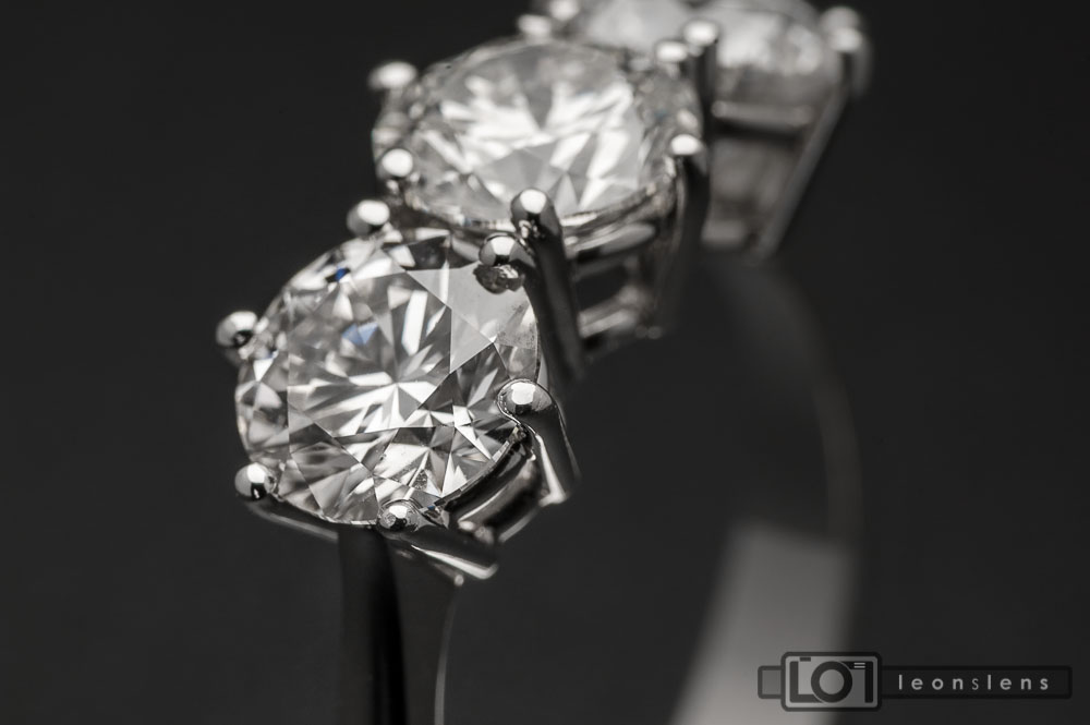 3 Carat Diamond Ring: Black Ice (angled view)