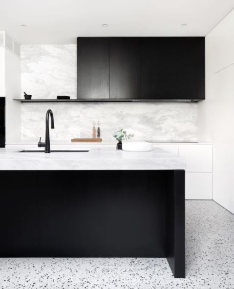Black + White + Terrazo +marble = Sharp.