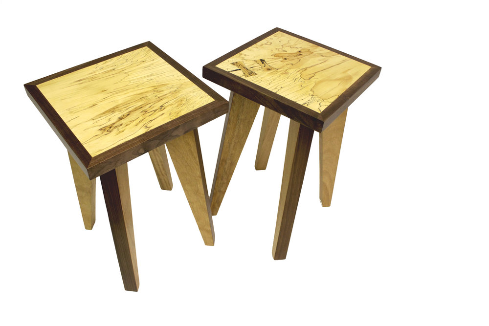 Spatled beech side tables