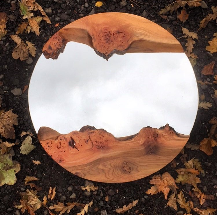 Round live edge mirror
