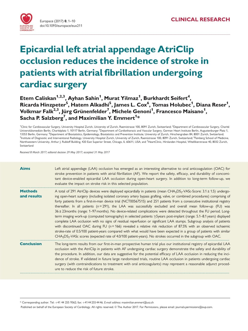 Epicardial left atrial appendage AtriClip occlusion reduces the incidence of stroke in patients with atrial fibrillation undergoing cardiac surgery.  - CLINICAL RESEARCH