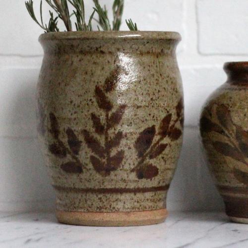 Vintage Stoneware Planter Vase Set 2 Piece Set Vintage Home
