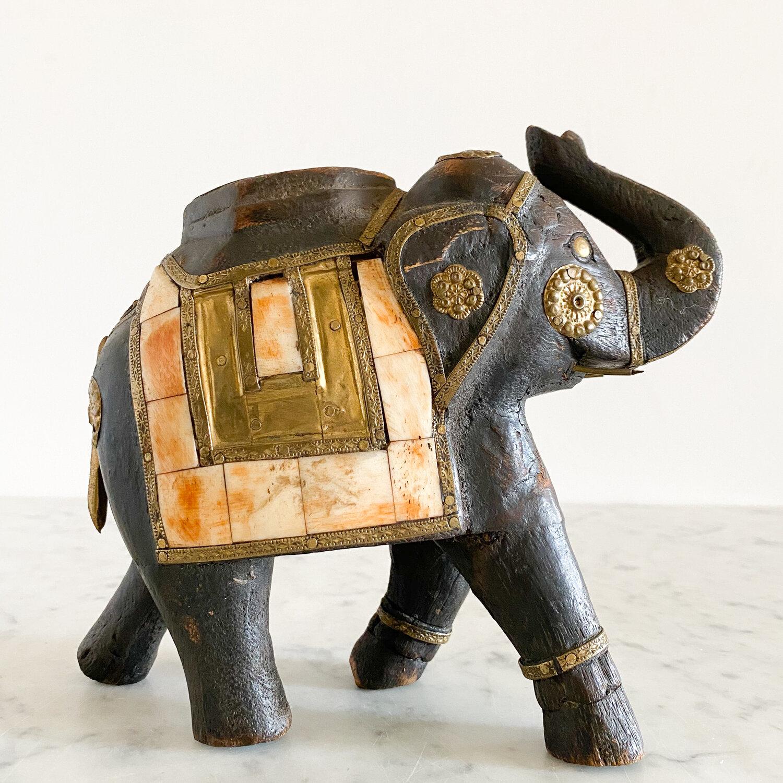Carved Wood Brass Bone Inlay Elephant Figurine Vintage Home Decor Portland Oregon Left Coast Revivals