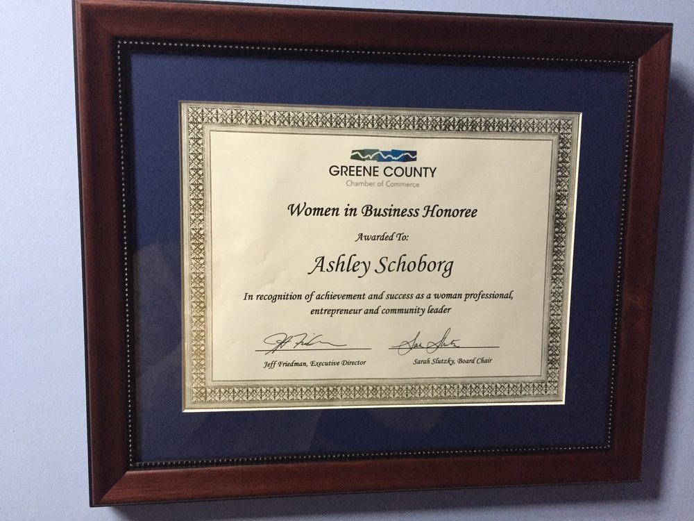 Women in Business Award - Spring of 2017 I was awarded Women in Business Honoree by Greene County Chamber of Commerce for Brainy Betties' video series:How Cultural Shame Manifests in Women