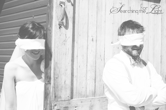 Denver Vintage Wedding Photographer blind fold first look Photo