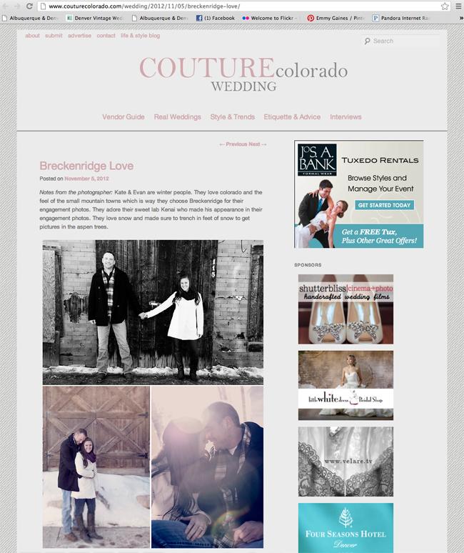 Published! {Kate & Evan} | Denver Wedding Photographer | Breckenridge Wedding Photographer