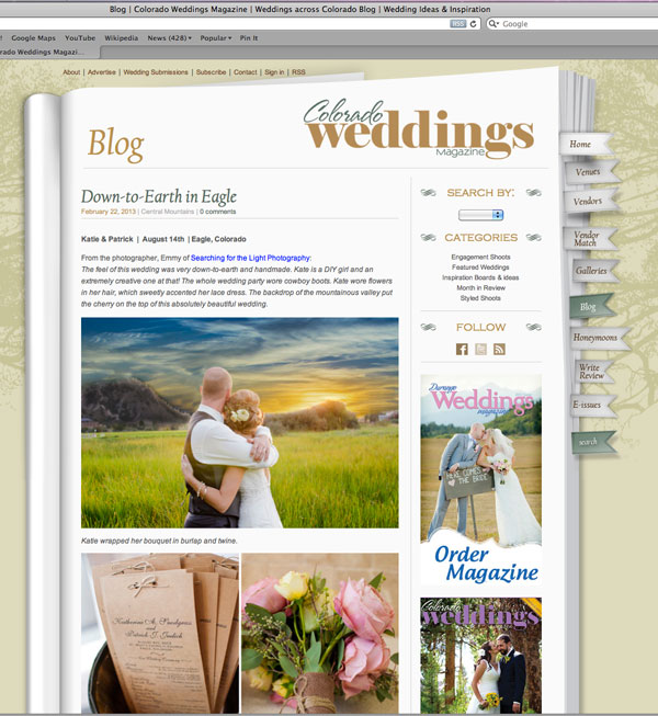 Published! {Colorado Wedding Magazine | Kate & Patrick} | Denver Wedding Photographer | Denver Vintage Wedding Photographer