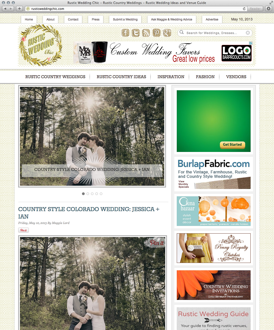 Denver wedding photographer featured on rustic wedding chic county style wedding jessica ian