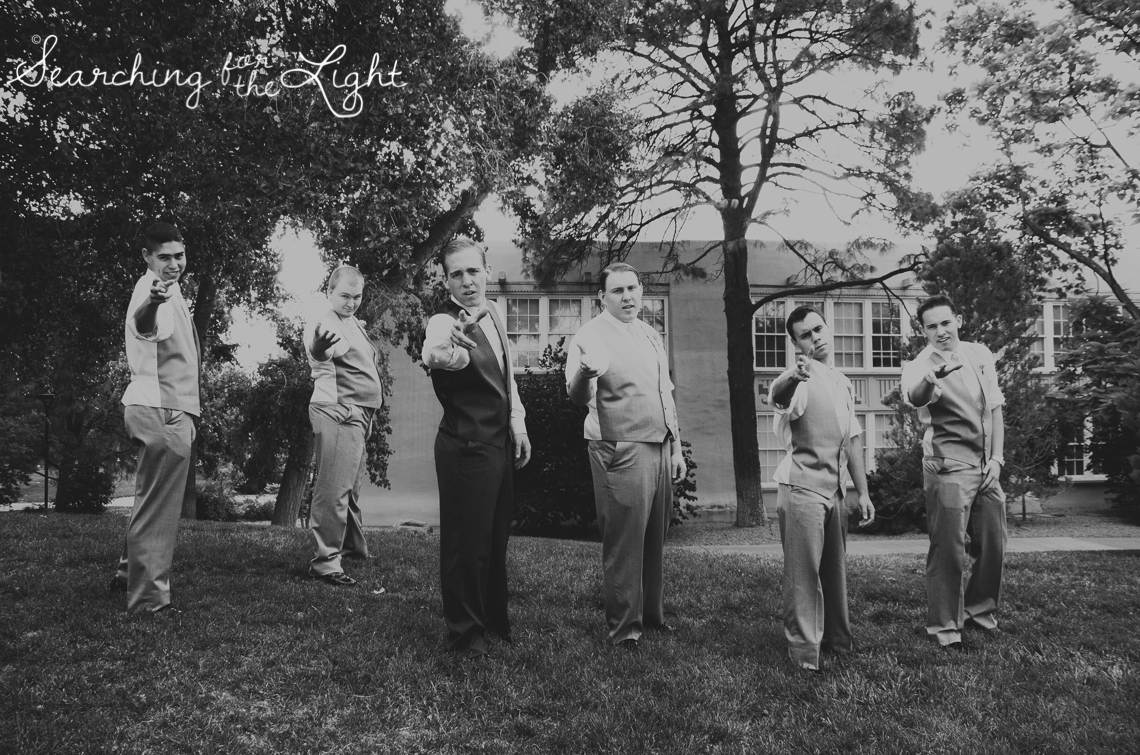 Denver Wedding Photographer Shares Destination Wedding in NM, groomsmen wedding party photo idea, vintage photographer, film wedding photography