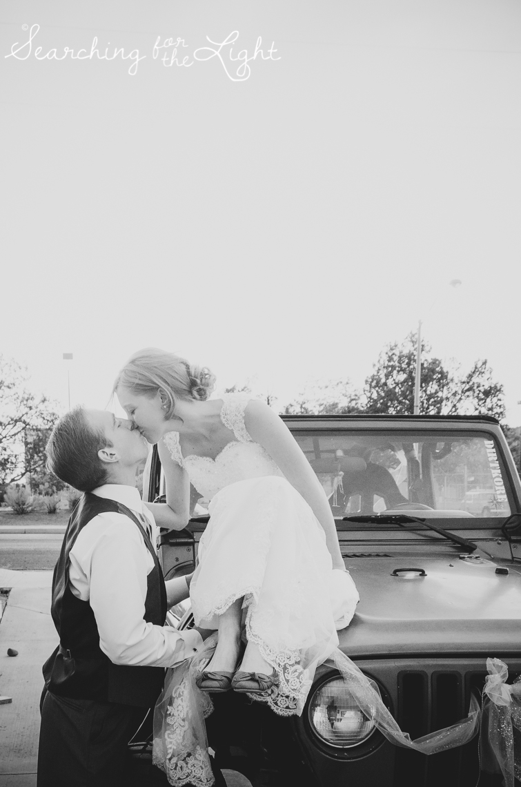 Denver Wedding Photographer Shares Destination Wedding in NM, bride and groom sitting on car photo, vintage photographer, film wedding photography