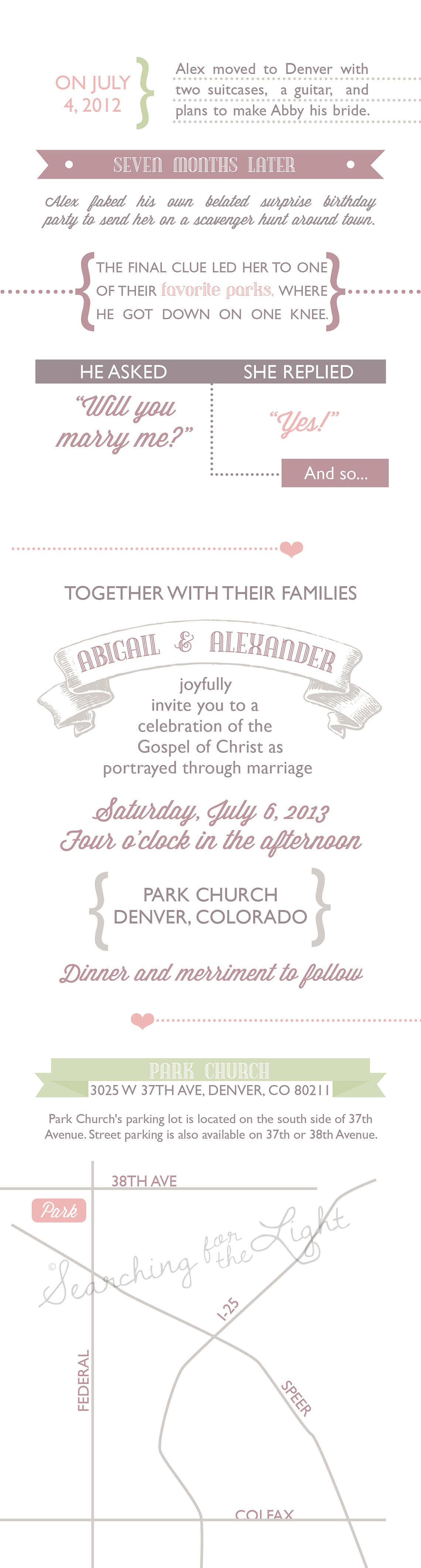 Love Story Wedding Invitations by Denver Wedding Photographer