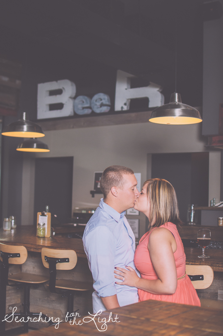 Unique engagement photo location, denver engagement photos, black shirt brewing co