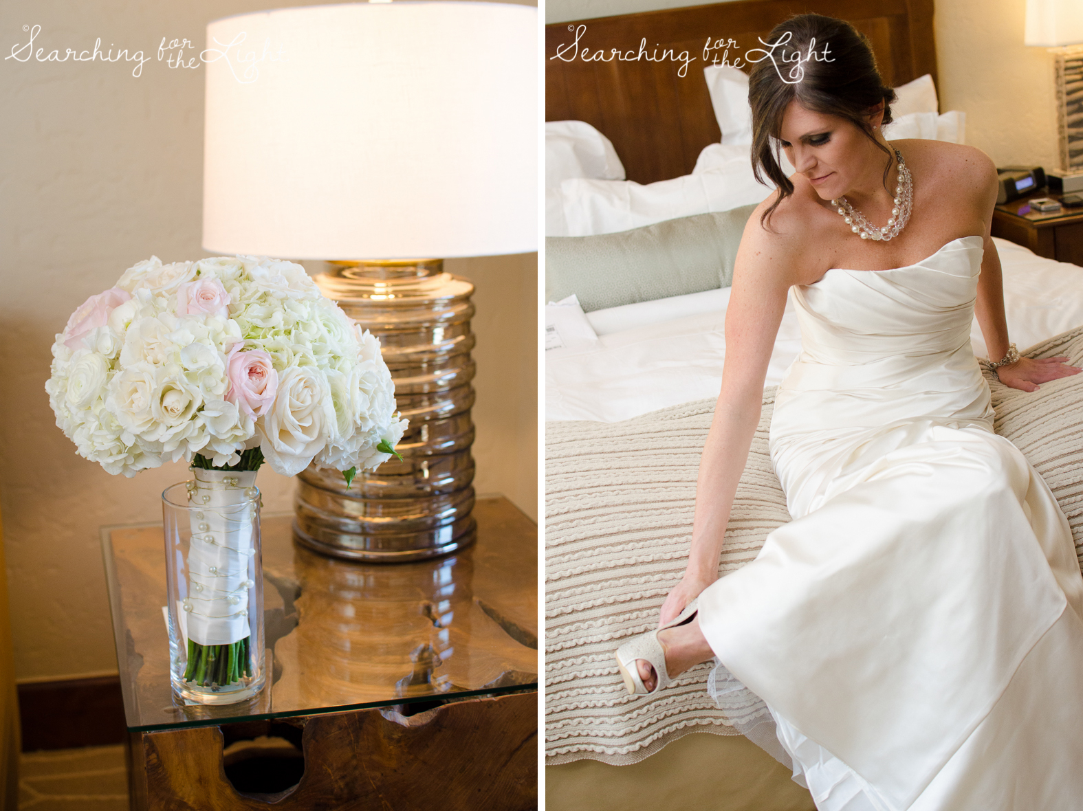 bride getting ready Fall Wedding photos in Beaver Creek, CO by Denver Wedding Photographer