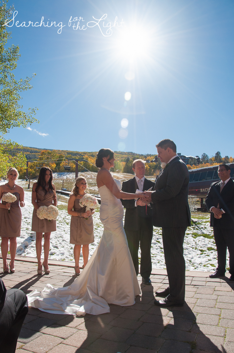 Fall Wedding photos and Ceremony photos in Beaver Creek, CO by Denver Wedding Photographer