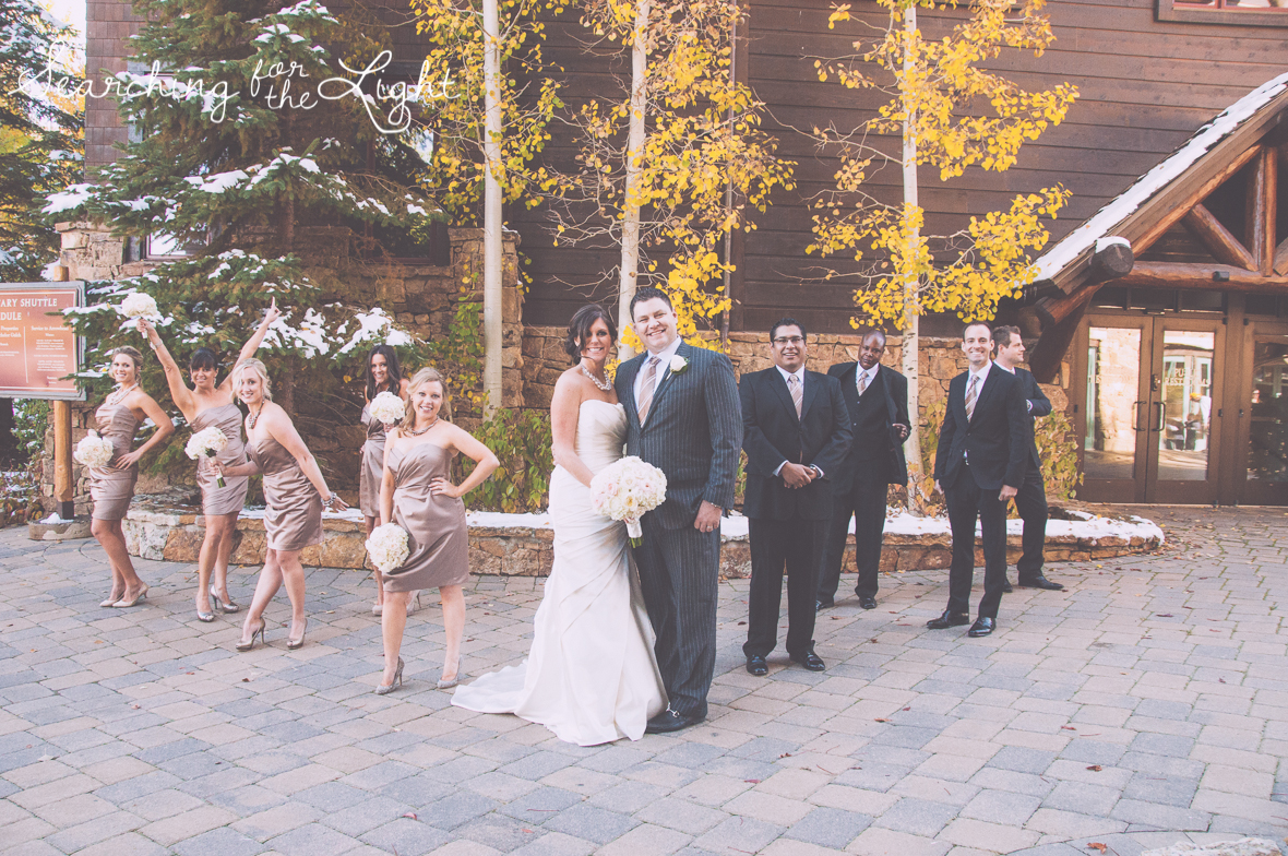 wedding party Fall Wedding photos in Beaver Creek, CO by Denver Wedding Photographer