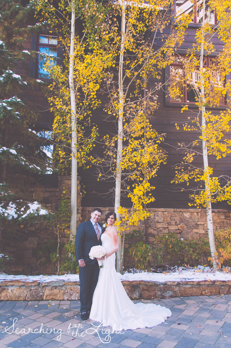 bride and groom fall wedding photo in beaver creek co by denver wedding photographer