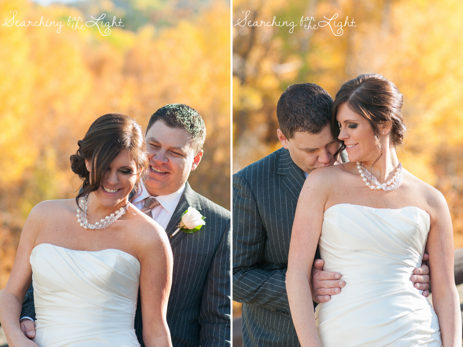 bride and groom Fall Wedding photos in Beaver Creek, CO by Denver Wedding Photographer