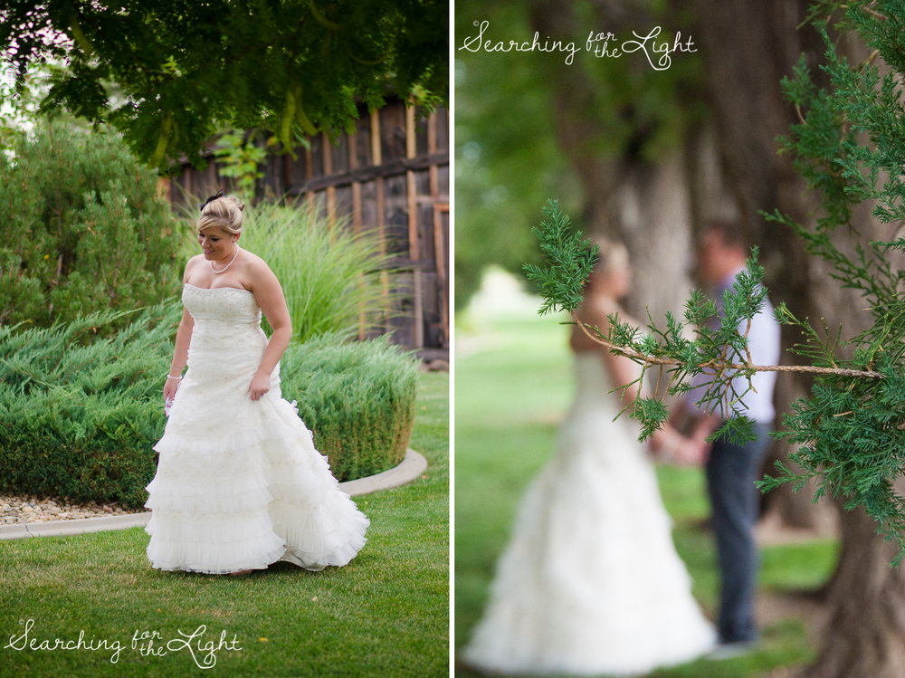 bride and groom first look at Shupe Homestead Wedding Photo by Denver Wedding Photographer