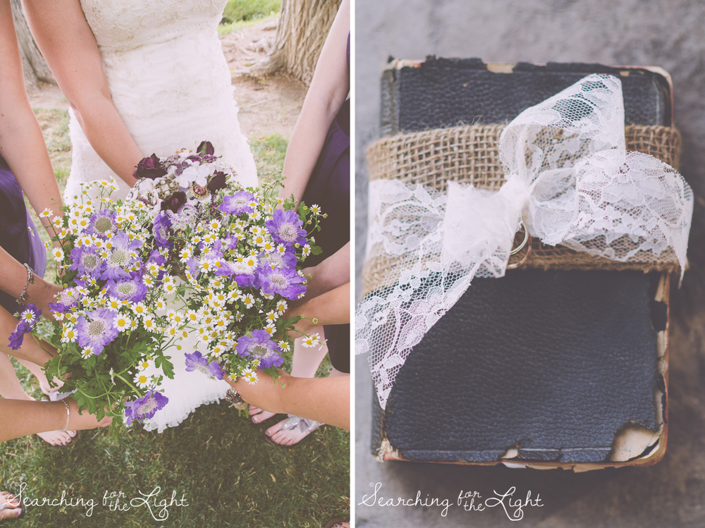 simple flowers and bible holding wedding rings Shupe Homestead Wedding Photo by Denver Wedding Photographer