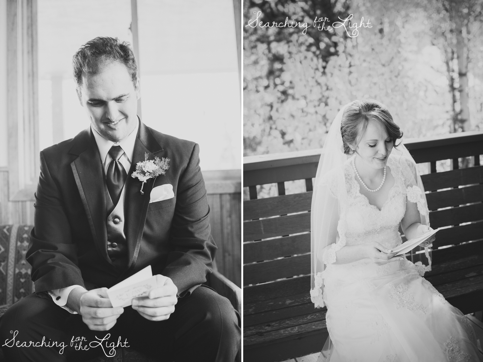 Exchanging wedding day notes Snow Mountain Ranch Wedding Photo Fall Wedding by Denver Photographer