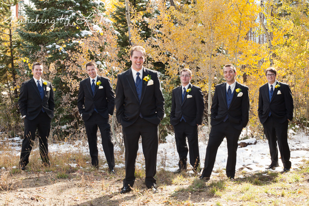 Groomsmen at Snow Mountain Ranch Wedding Photo Fall Wedding by Denver Photographer