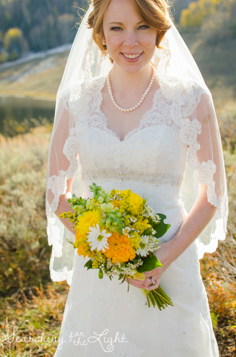 bride at Snow Mountain Ranch Wedding Photo Fall Wedding by Denver Photographer