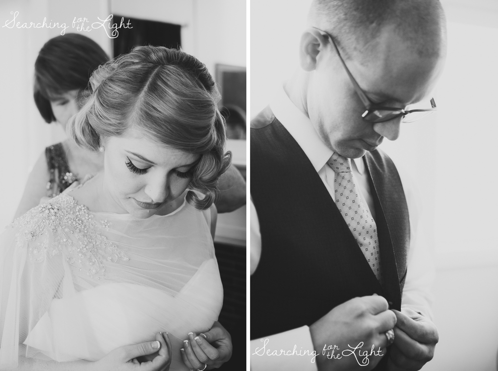 bride and groom getting ready at the same time Parkside mansion wedding photo by denver wedding photographer, romantic evening wedding photo, city wedding