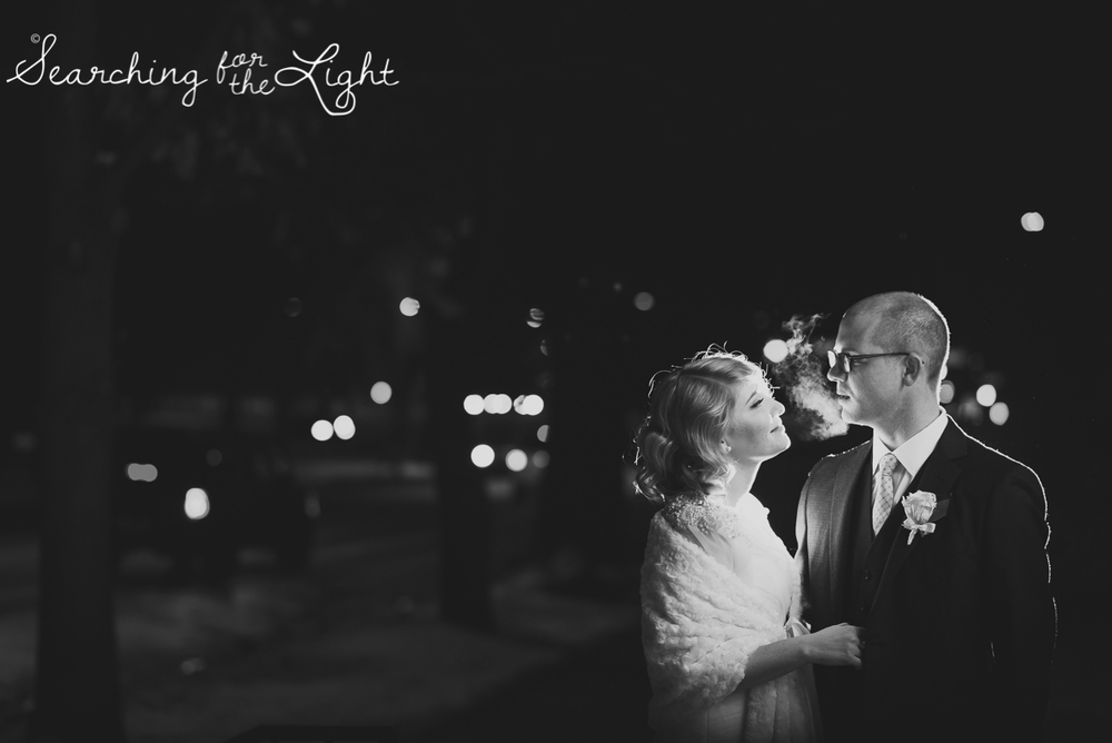 romantic wedding photo in the city during winter Parkside mansion wedding photo by denver wedding photographer, romantic evening wedding photo, city wedding