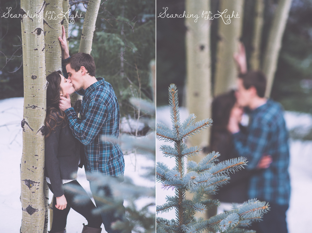 Playful engagement photos by denver wedding photographer winter mountain engagement photos