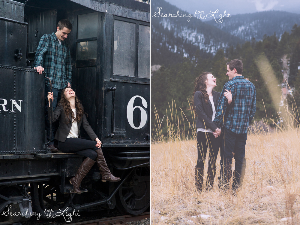 Playful engagement photos by denver wedding photographer