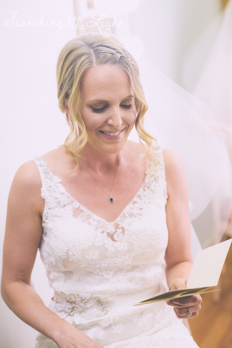 exchanging notes instead of a first look at a church wedding photos, colorado wedding photographer