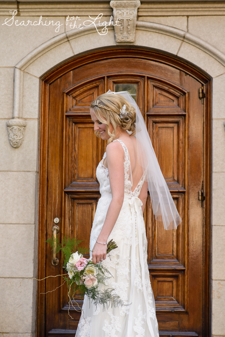 bride photo at Holy Ghost Catholic church, colorado wedding photographer photos