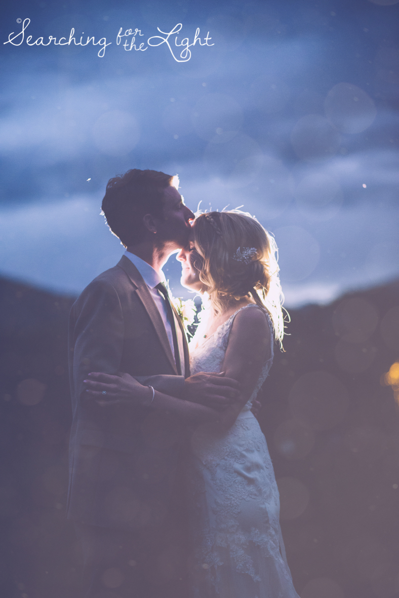 bridal and groom photo at night denver botanical garden at chatfield, colorado wedding photographer photos