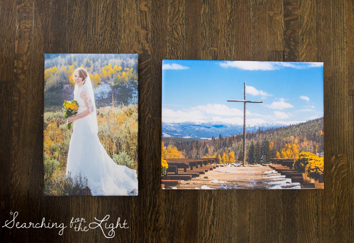 snow mountain ranch wedding photos in the fall, float wrap art work