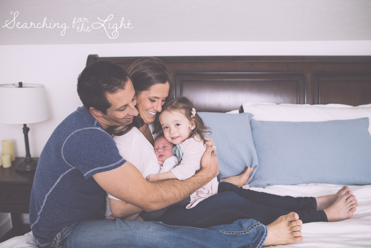 Denver newborn photographer, Newborn photos, family winter photos, bedroom family photos