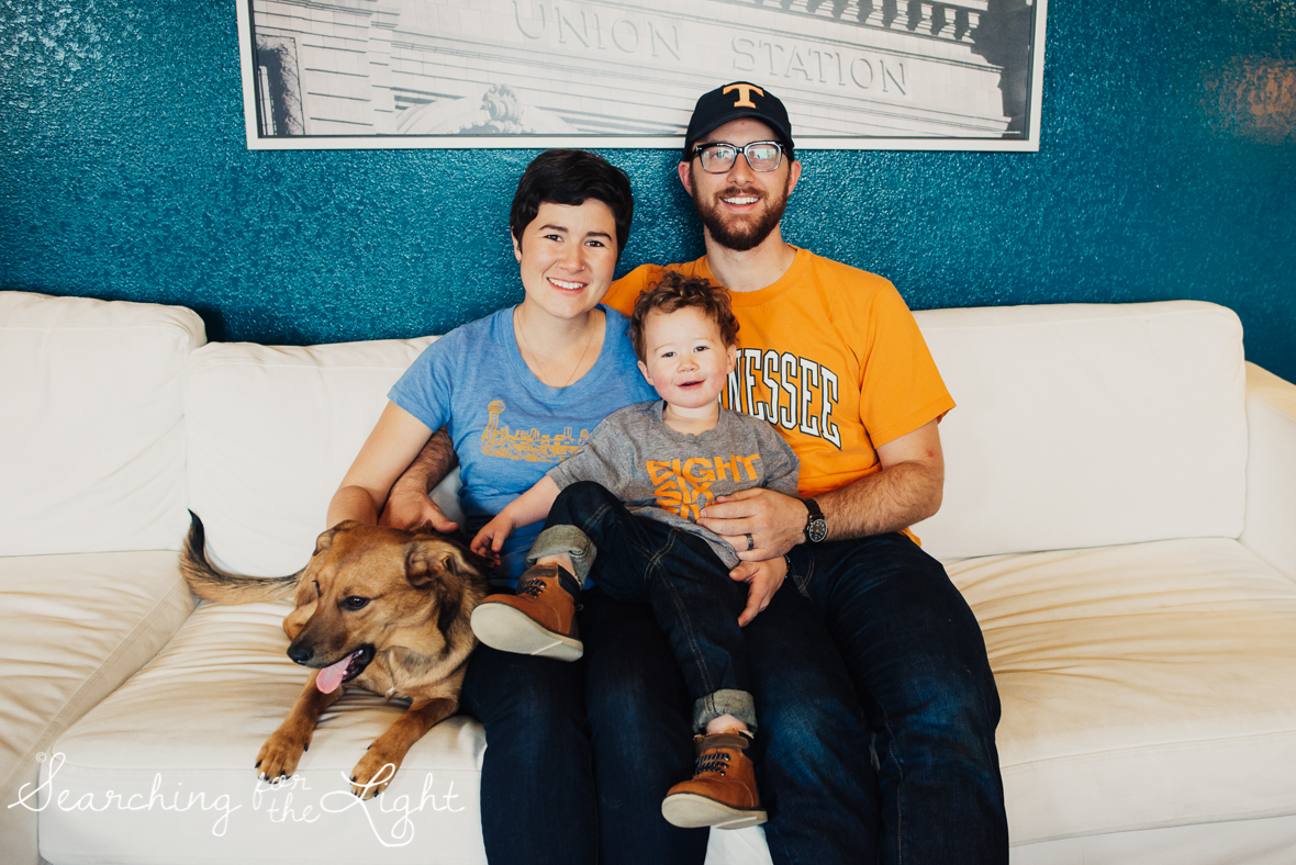 denver photographer, family of three, family photos in your house