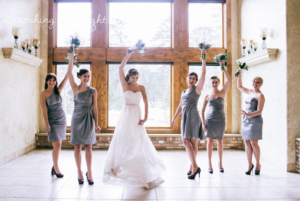 colorado wedding photographer, winter estes park wedding, winter wedding, fun bridal party photos