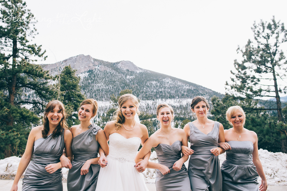 colorado wedding photographer, winter estes park wedding, winter wedding, fun bridal party photos
