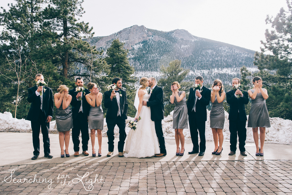 colorado wedding photographer, winter estes park wedding, winter wedding, fun wedding party photos