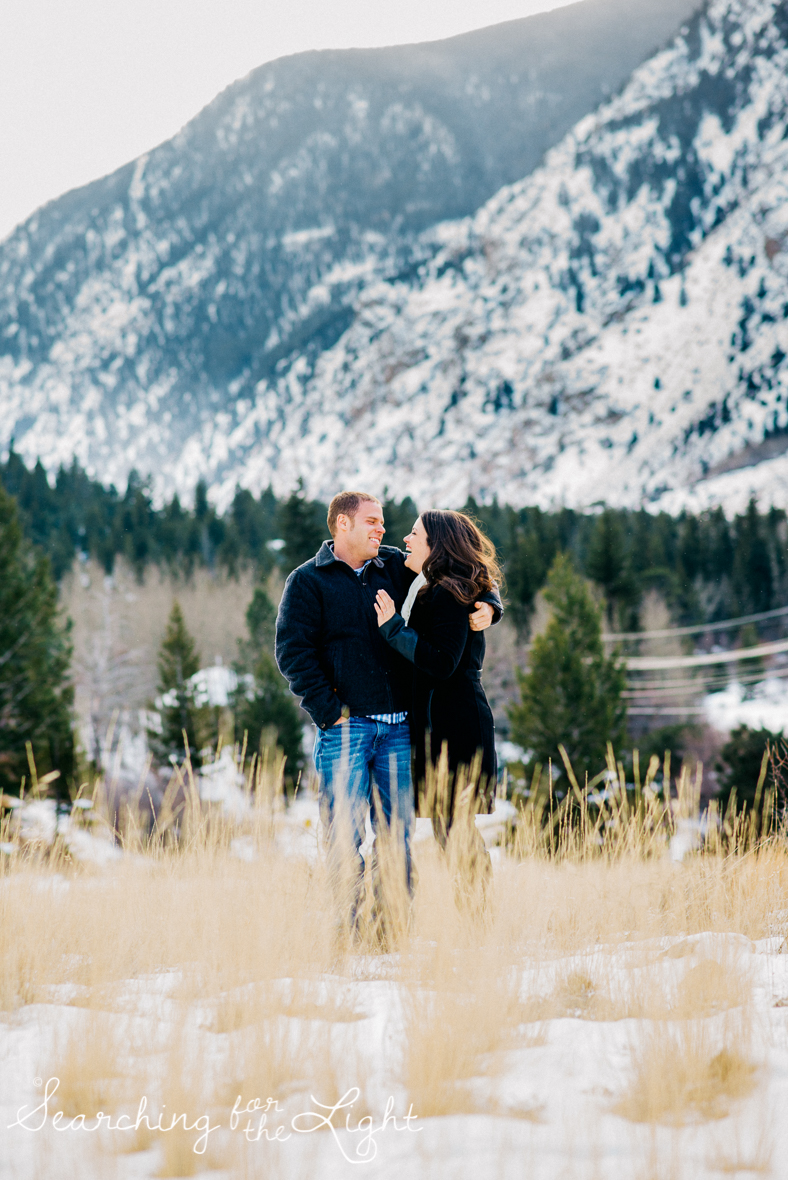 Cuddly Cute winter engagement photos in Georgetown, Colorado by a colorado wedding photographer, destination engagement photos