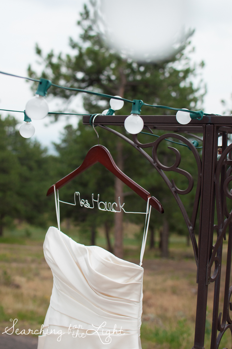 colorado wedding photographer, your wedding dresses hanger