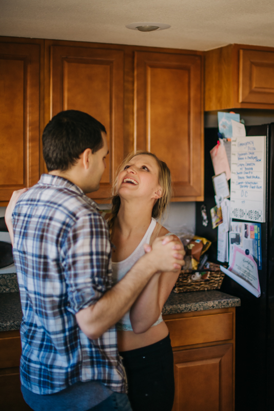 Intimate In Home Engagement Couple Photography | Mountain Denver Colorado.